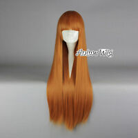Lolita Orange Long 80CM Straight Fashion Party Cosplay Full Hair Wig With Bangs