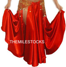 TMS RED Satin Slit Full Circle Skirts Belly Dance Costume Gypsy Tribal JUPE