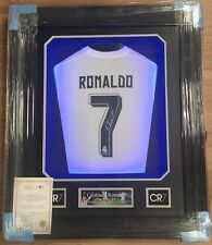 Incorniciato CRISTIANO Ronaldo Firmato Maglietta Real Madrid Portogallo RARA COA Light Up