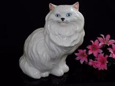 "Large 14"" Vintage Ceramic Porcelain Statue Figurine  White Cat"