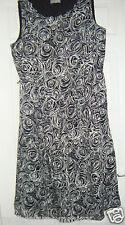 M&S BLACK WHITE FLORAL PRINT PER UNA DRESS 16 SUNDRESS BUSINESS CASUAL 16L SALE