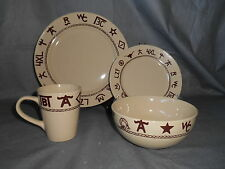 16pc WC Branded Dinnerware Western Southwest Mugs Cowboy Steer Rope Plate Bowl