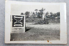 Original WW2 Photograph of a U.S. Army AAA Field Sign w/Captured Japanese Cannon
