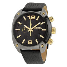 Diesel Overflow Chronograph Black Dial Black Leather Mens Casual Watch DZ4375