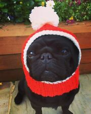 The  Christmas Santa Dog hat snood for your dog. Pug, hat Costume. Bobble Hat