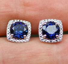Sterling Silver 925 Created Sapphire & Diamond Round Halo Style Stud Earrings