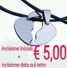 ♡2 collane,mezzo cuore spezzato amicizia amore in acciaio con incisione gratis ♡