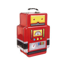Chunky Funky Red Retro Robot School Lunch Box Tin - Metal Cute Storage Tin New