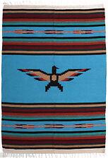 "Thunderbird Serape OBird-Turquoise Southwestern Afghan Throw Blanket 59""x84"""