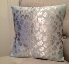 "12"" cushion cover in Laura Ashley Coco duck egg & Dupion duck egg silk fabric"