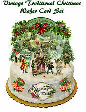 Vintage Traditional Christmas Tree Scene Edible Premium Wafer Card Cake Toppers