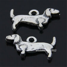 20pc Retro Tibetan Silver 2-Sided Daschund Dog Animal Pendant Charms Beads PL064