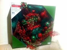 """New in Box 24"""" Celebrate It Mesh Christmas Wreath ,Red & Green"""