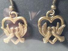 Handmade Bronze Tone Love Birds Heart Drop Style Hook Earrings - Fashion Jewelry