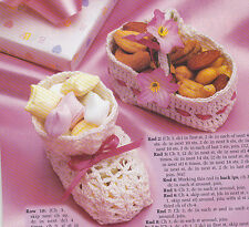 Crochet Pattern ~ BABY BOOTIE & BASKET SHOWER FAVORS Nut Cups ~ Instructions