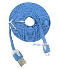 Blue 10ft 3M Noodle Micro USB Data Sync Charge Cable for Samsung S3 S4 Note3 GT~