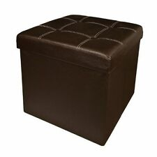 Brown Ottoman Folding Seat Faux Leather Stool Chest Foldable Storage Box Foot