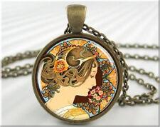 1pcs Vintage Lady Cabochon Bronze Glass Chain Pendant Necklace !03