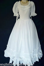 VINTAGE LAURA ASHLEY WHITE COTTON VOILE VICTORIAN ROMANCE WEDDING DRESS, UK 8