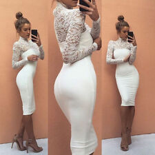 Women Bandage Bodycon Long Sleeve Evening Party Cocktail Pencil Mini Dress USA