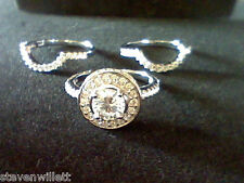 4.00 CTW LCS DIAMOND HALO WEDDING ENGAGEMENT 3 PC RING SET WITH GUARDS SZ 8
