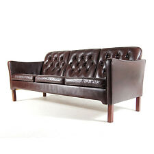 Retro Vintage Danish 3 Seat Seater Leather Rosewood Sofa 50s 60s Scandinavian