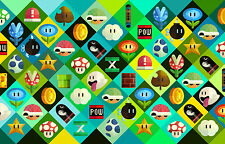 A4 Poster – Super Mario Game Icons (Picture Print Gaming Art Nintendo Wario)