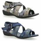 Ladies Womens Mid Wedge Heel Strappy Buckle Summer Gladiator Sandals Shoes Size