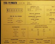 1956 Plymouth SIX Series P28 Plaza Savoy Belvedere Model 230 CI L6 Tune Up Chart