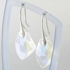 Sale SWAROVSKI CRYSTAL Platinum Plated Silver Drop Earrings Gift White Blue Pink