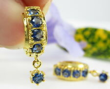 LOVELY BLUE SAPPHIRE COLOR CZ LEVER-BACK DROP 22K 18K Gold GP Thai Earrings