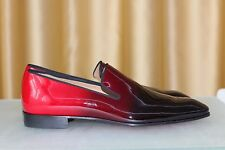 NEW CHRISTIAN LOUBOUTIN Dandelion Black Red Patent Dress Formal Loafer Shoe 42.5