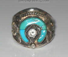 EXQUISITE ESTATE STERLING SILVER HORSESHOE TURQUOISE SOUTHWEST RING BAND SZ 9.75