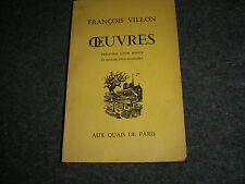 FRANCOIS VILLON-OEUVRES PRECEDEES D'UNE NOTICE ET SUIVIES D'UN GLOSSAIRE FRENCH