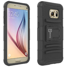 For Samsung Galaxy S7 Black Hybrid Armor Case + Belt Clip Holster Phone Cover