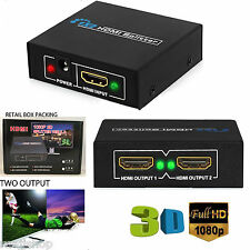 1 INPUT 2 OUTPUT HDMI SPLITTER 2 WAY SWITCH BOX Hub SUPPORT FULL HD 3D 4K BOXED
