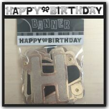 Happy Birthday Party Banner Black & Silver 1.3M Long Decorations Supplies
