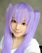 Lucky Star Long Fashion Purple Straight Cosplay Wig WIth Two Clip Ponytails