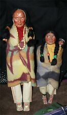 "2 Skookum Bully Good Native American Indian 17 1/2"" CHIEF SQUAW / PAPOOSE BABY"