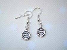 *CUTE TINY SILVER BUTTON* Tibetan Silver Drop Earrings Rockabilly Retro Gift Bag