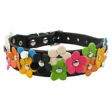 10-13'' Black Flower Studded PU Leather Small Dog Collars for Chihuahua Poodles