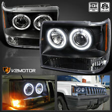 1993-1996 Jeep Grand Cherokee Halo Projector Headlights Black Pair