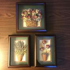 Set of 3 1988 Dbl Matted, Deep Shadow Boxed Dried Floral Arrangements #M1063