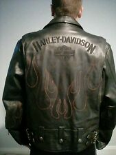 Harley Davidson Leather Riding Jacket Size Large Red Flames Buckles Biker Style