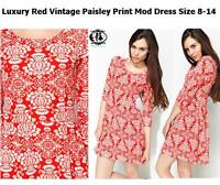 LADIES RED PAISLEY ORNATE SIZE 8-14 SHIFT DRESS 60's MOD TWIGGY SKATER TUNIC VTG