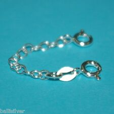 "Sterling Silver 925 2"" Safety CHAIN EXTENDER with 2 Spring Clasps - BalliSilver"