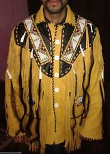 Western Fringed Buckskin Native American Indian Fringe Bones jacket XS To 6XL