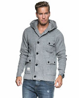 VOI MENS SIZE SMALL CHUNKY KNITTED GREY HOODED CARDIGAN JUMPER - BRAND NEW