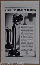 1933 Bell advertisement, American Telephone & Telegraph W.E. CANDLESTICK phone