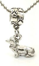 Cute Dachshund Dog Charm on Paw Print Slider Bead for Bracelet OR Necklace